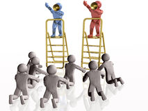 Superiors. Red and blue 3d mans with megaphones at the step ladders, white background Stock Image