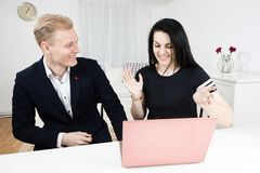 Superiors works with subordinate - disputing emotionally royalty free stock images