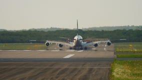 Superjumbo landing at Dusseldorf stock video