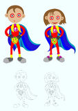 Superjunge und Supermädchen Lizenzfreie Abbildung