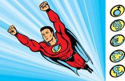 Superkerl, der in Tätigkeit fying ist Lizenzfreies Stockbild