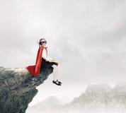 Superkid con il libro Fotografia Stock Libera da Diritti
