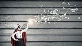 Superkid con la trompeta Fotografía de archivo libre de regalías