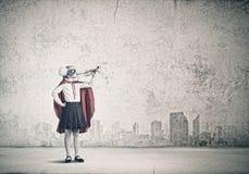 Superkid met trompet Royalty-vrije Stock Afbeeldingen