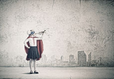 Superkid with trumpet Royalty Free Stock Images