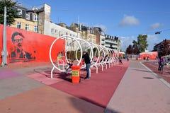 Superkilen parkerar i Köpenhamnen, Danmark Arkivfoton