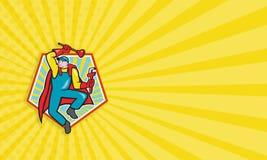 Superklempner Plunger Wrench Cartoon Stockbilder