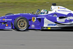 SuperLeague Formula rsc anderlecht. Driver Davide Rigon for the RSC Anderlecht  Superleague Formula race team celebrating his victory in race 1 of round 2, Assen Stock Photo