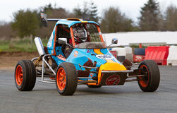 Superlite racing. OSWESTRY, UK - APRIL 27: An unnamed driver competing in the NoraSport UK Superlite championship enters a series of tight corners at the Rednal Stock Photography