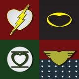 Superlove heroes. Superhero shields shaped like hearts, symbol for strong love, eps10 vector Stock Image