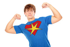 Superman. Portrait of a superman. Shot in a studio stock image
