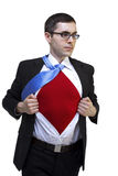 Superman. Businessman revealing his superhuman red chest Royalty Free Stock Images