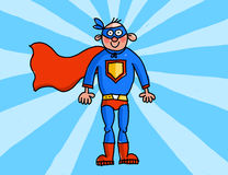 Superman. Brave and strong superman with a blue mask - illustration Stock Photography
