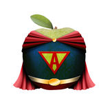 Superman apple. A green apple in a superman costume Royalty Free Stock Photography