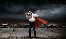 Superman avec le violon Photographie stock libre de droits