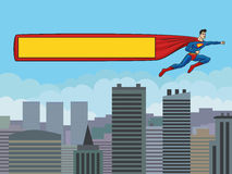 Superman with a banner over the city. Superman flying over the city and drags banner. Format 3:4 (standard screen monitor Stock Photo