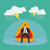 Superman with barrier protecting her money from thunderstorm Royalty Free Stock Photography