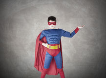 Superman. Child superman costume with cape house production royalty free stock photo