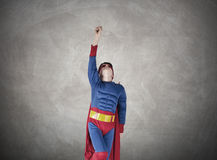 Superman. Child superman costume with cape house production Stock Images
