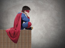 Superman. Child superman costume with cape house production Royalty Free Stock Images