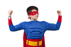 Superman. Child superman costume isolated on white background royalty free stock images