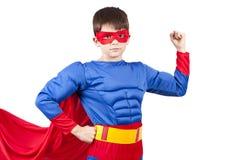 Superman. Child superman costume isolated on white background royalty free stock photo