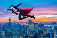 The superman and the city in concept. Superman and the city in concept Stock Images