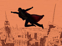 The superman and the city in concept. Superman and the city in concept Royalty Free Stock Photo