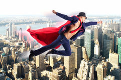 The superman and the city in concept Stock Images