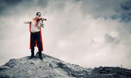Superman con il violino Fotografia Stock Libera da Diritti