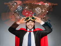 The superman concept with man in red cover Stock Photography