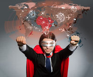 The superman concept with man in red cover Royalty Free Stock Images
