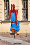 Superman crashing to ground. Humourous sculpture of Superman crashing to ground at Jewish museum in Berlin, Germany royalty free stock images