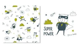 Superman d'ours Conception extérieure et modèle sans couture pour des enfants illustration stock