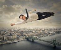 Superman do voo foto de stock royalty free