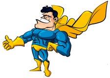 Superman dos desenhos animados com caixa enorme ilustração stock