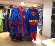 Superman dressing gown and outfit. Royalty Free Stock Photo