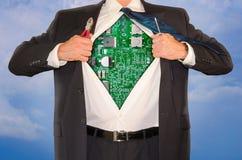 Superman em linha de Repair Tech Support do coordenador de computador Foto de Stock Royalty Free