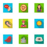 Superman, explosion, fire, and other web icon in flat style.Pistol, weapons, innovations, icons in set collection. Superman, explosion, fire, and other  icon in Royalty Free Stock Photos