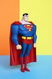 Superman figure on pastel colors background. Royalty Free Stock Image