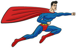Superman. Superman flies through the air and the wind stretches his cloak Royalty Free Stock Photo