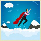 Superman. Flies through the clouds up. Vector illustration Stock Photo