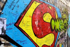 Superman graffiti on a wall in Paris France Royalty Free Stock Photography