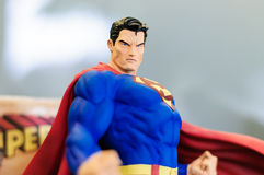 Superman Iconic Figurine. Iconic figurine of Superman comic character on a sophisticated toy and collection shop stock photo