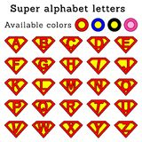 Superman letters rounded (pink). Illustration of super alphabet letters, 4 color versions Stock Images