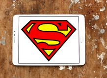 Superman logo. Logo of Superman on samsung tablet. Superman is a fictional superhero appearing in American comic books published by DC Comics stock photos