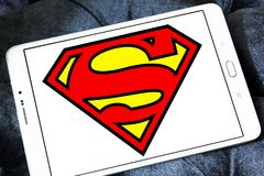 Superman logo. Logo of Superman on samsung tablet. Superman is a fictional superhero appearing in American comic books published by DC Comics royalty free stock photo