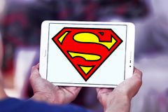 Superman logo. Logo of Superman on samsung tablet. Superman is a fictional superhero appearing in American comic books published by DC Comics royalty free stock images