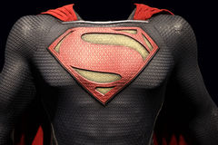 Superman Man of Steel costume. The costume worn in the Superman, Man of Steel movie isolated on black. Taken at Warner Brothers studio 2016 royalty free stock photos