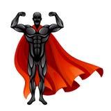 Superman in mantello rosso illustrazione di stock